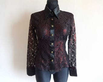 Vintage 90s Lace Semi Sheer Black & Red Blouse Long Sleeve Classic Collar Buttons Down Formal Blouse Women's Lace Shirt Vintage Cloting