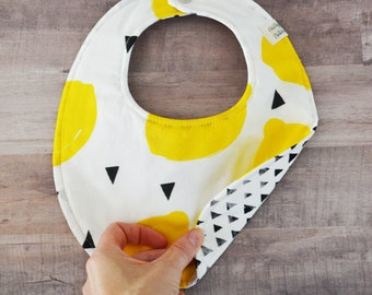 Bright Lemon Reversible Cotton and Black Triangles Snapable Baby Bib