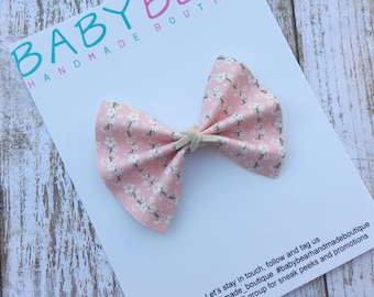 Pink Floral Bow, Faux Leather Bow, Hair Bow, Baby Bow, Newborn Bow, Toddler Bow, Girls Headband, Girls Hair Clip