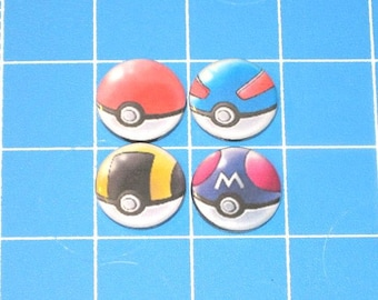 Set of 4 Pokeball 1in Button Badges