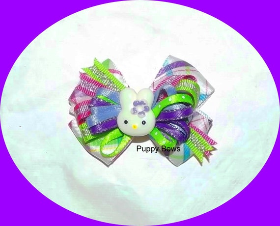 Puppy Bows ~ Easter bunny fancy purple pink plaid dog grooming bow pet hair barrette