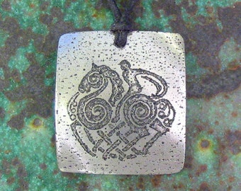 Odin Riding Sleipnir Pendant - Norse Stainless Steel Etched - Swift Horse, Viking Compass