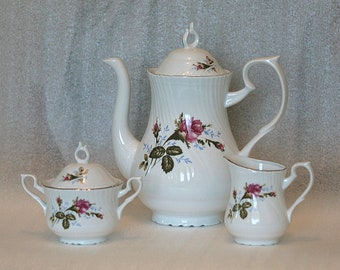 Vintage Romanian porcelain coffee pot, creamer and sugar bowl, 1980s from USSR