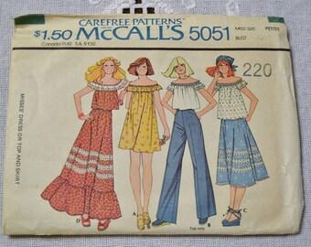 Vintage McCalls 5051 Sewing Pattern Misses Dress Top Skirt Size Petite Crafts  DIY Sewing Crafts PanchosPorch