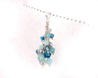 Aqua Ocean Cluster Pendant, Crystal Pearl Swarovski, Silver