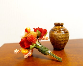 1:12 Red Roses and Orange Fruits Floral Arrangement, Flowers Bouquet in Ceramic Vase, OOAK one inch scale dollhouse artisan miniature