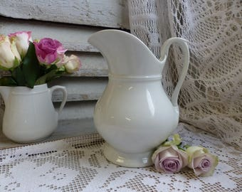 Antique french white footed washing pitcher. Limoges porcelain. White pitcher. Jeanne d'Arc living. French nordic decor. Shabby white