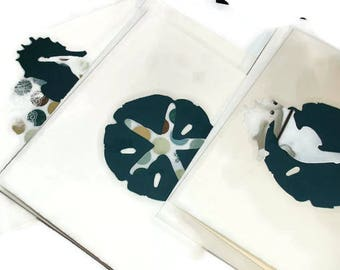 Nautical cards Seahorse cards Starfish cards Sand dollar cards 3 card card set blank note cards notecards stationery beautiful card set gift