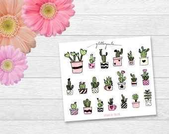 Cactus and succulents planner stickers