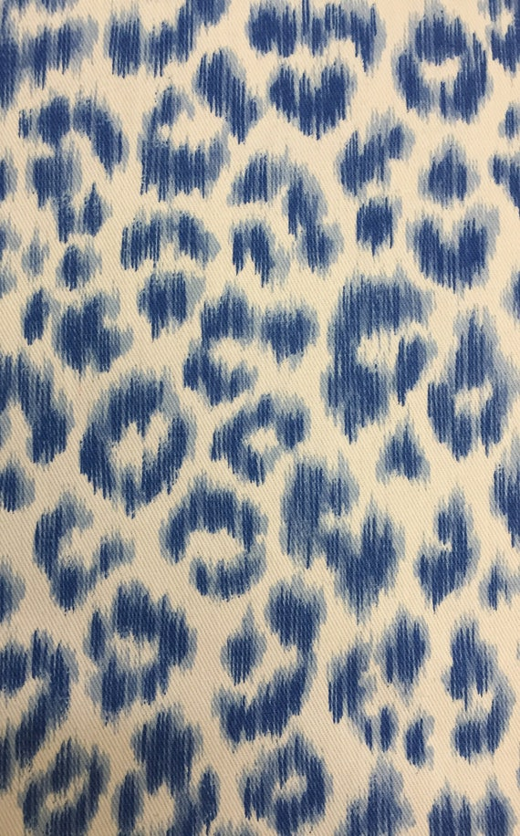 Blue Leopard Animal Print Fabric By The Yard