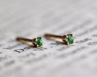 14K Tiny Emerald Studs