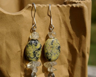 Serpentine and Citrine Earrings