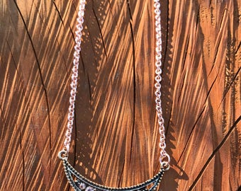 Rose Gold Plated Necklace With Creascent Moon Pendant, Creascent Moon Necklace