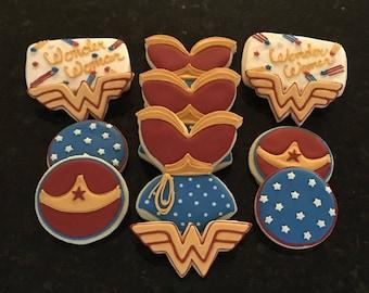 Wonder Woman Themed Sugar Cookies