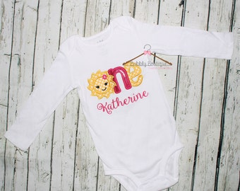 Girls personalized you are my sunshine first birthday shirt / One / 1st / embroidery / polka dot /  glitter / outfit / bodysuit