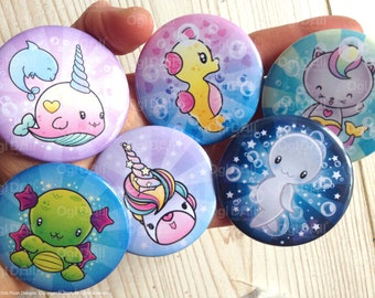 Kawaii Fantasy Animal Art Button Badge, Cute Animal Pin Badge, Narwhal Badge, Seahorse Badge, unicorn Badge, Ghost Badge, Dragon Badge
