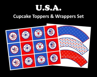 INSTANT DOWNLOAD - Printable - 4th of July / Team USA / Olympic Support / Cupcake Toppers & Wrappers Set
