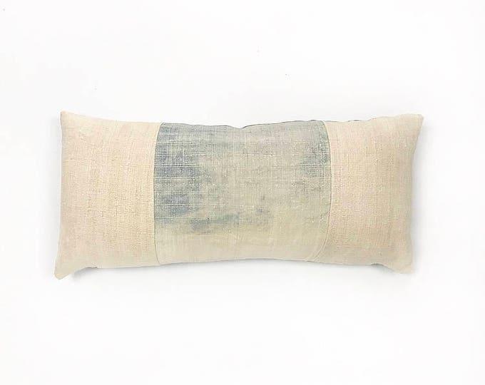 Vintage Super Faded Indigo Hemp Hmong Batik Textile And Antique Linen Lumbar Pillow Cover 11x23