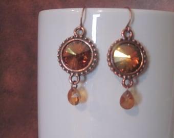Swarovski rivoli setting dangle earrings crystal copper