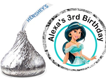 216 ~ Aladdin Princess Jasmine Birthday Party Hershey Kiss Kisses stickers Labels ~ FREE SHIPPING
