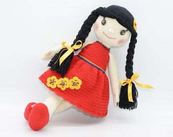 Traditional Doll, Amigurumi dolly, crochet doll, stuffed dolly with tight braids, large doll with red dress, art doll, collectible doll