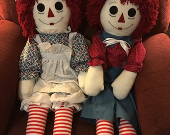 Vintage Raggedy Ann and Andy dolls 36""