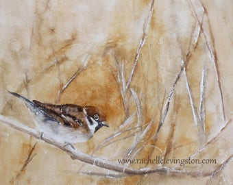 for her sparrow painting of bird painting bird art PRINT bird art bird art print mom gift bird painting cottage chic watercolor painting NEW