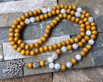 Mala 108 pearl Necklace life Tree Crystal wood mala
