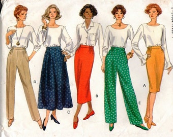 Vintage Butterick Pattern 3163 - Fast & Easy Classics - Misses/Misses Petite Skirt and Pants - 8-12