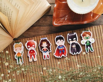 Super Heroes JL Character Magnetic Bookmarks