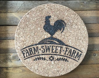 Farm Sweet Farm Trivet, Camper Hotplate, Cork Trivet, Hotplate, Cork Hotplate, Cork Board, Round Hotplate, Hot Pad, Hotplate Trivet