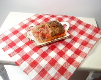 Dollhouse Roast Beef on serving tray, 1/12 scale