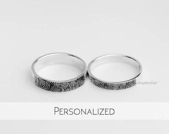 Fingerprint | Promise Rings | Couples Ring | Promise Rings For Couples | His and Her Promise Rings | Personalized | Gift For Him