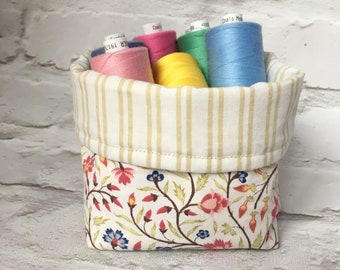 Reversible Fabric Storage Basket Small Desk Caddy Sewing Basket Nightstand Tidy
