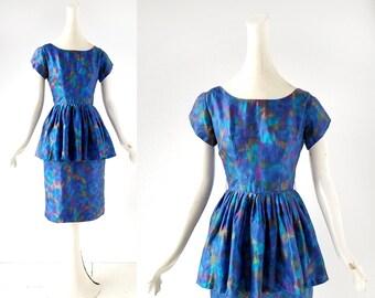 1950s Silk Dress | Northern Lights | 50s Dress | XXS XS