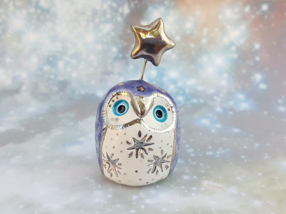 Ultraviolet Ceramic Owl Sculpture with Silver Luster