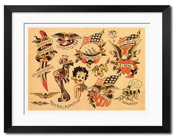 Sailor Jerry Old School Vintage Tattoo Flash Poster Print
