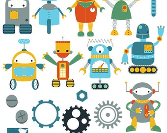 Cute Robots Digital Clipart - Scrapbooking , card design, invitations, stickers, paper crafts, web design - INSTANT DOWNLOAD