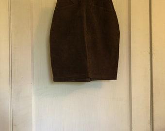 Brown & Black Leather Bagatelle Skirt
