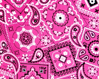 END OF BOLT 1 yard 10 inches of Pink Bandana fabric, 100% cotton fabric for general arts and crafts and all sewing projects.