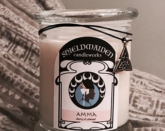 """Cherry Almond Scent Soy candle """"Amma""""  12oz Viking Natural Soy Container Candle With Lid Shieldmaiden Candleworks"""