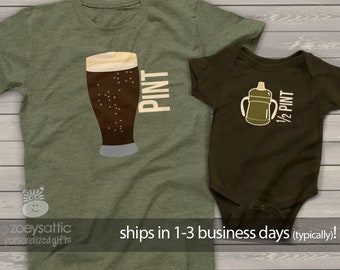 pint half pint matching t-shirts   dad baby father son matching shirts father's day shirt set   first father's day shirts SIPPY MDF1-009v