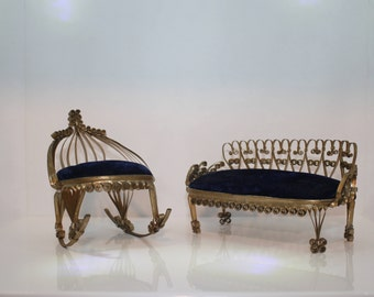 Handmade Doll House Furniture - Tramp Art - Blue Velvet - Rocking Chair - Couch - Made From Food Cans