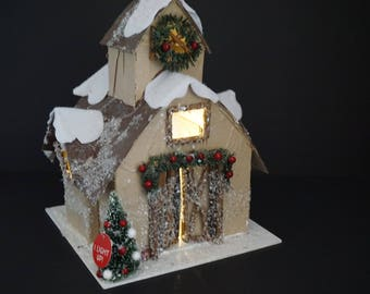 Christmas Cardboard House, Lit Glitter House, Barn Style Building, Christmas Village Ornament, 3D Paper Christmas Village, FREE Ship
