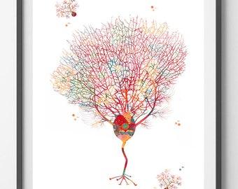 Purkinje Neuron Watercolor Print Brain Art Neuroscience Art Purkinje Cell Giclee Print Science Anatomy Art Neurosurgery Neurology art gift