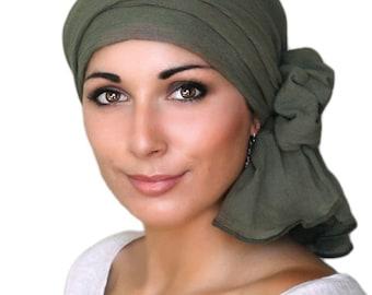 Turban Diva Olive Green Cotton Gauze Turban Hat, Head Wrap, Chemo Hat, Alopecia Scarf, Army Green Turban, Hat & Scarf Set 102-16