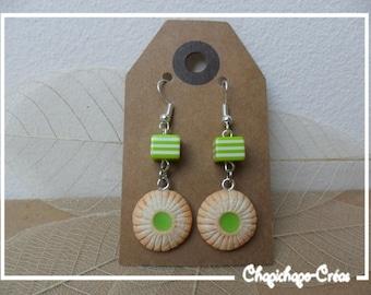 Gourmet Cookies earrings in polymer clay square beads