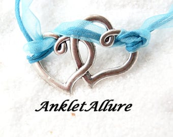 Ribbon Anklet Double Heart Ankle Bracelet Romantic GUARANTEED Romantic Anklets for Women Blue