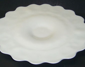 Westmoreland Milk Glass PANELED GRAPE 15 Inch Diameter Party or Sandwich Plate Pattern on Bottom