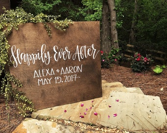 Wedding Welcome Sign | Happily Ever After | Personalized Wedding Entrance Sign | Rustic Wood Wedding Sign | Custom Wedding Signs | Ceremony